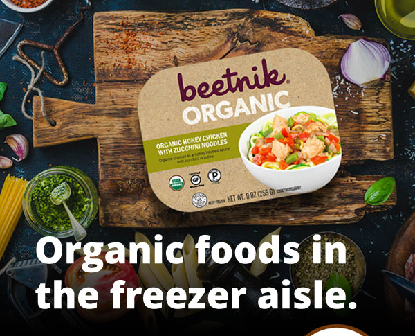Organic foods in the freezer aisle.