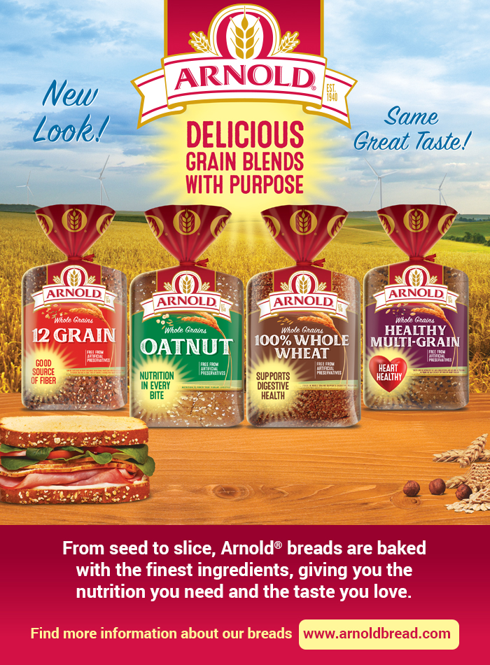 Arnold®  New Look - Same Great Taste! Delicious Grain Blends with Purpose. Good source of fiber - Nutrition in every bite - Supports digestive health - Heart healthy. From seed to slice, Arnold® breads are baked with the finest ingredients, giving you the nutrition you need and the taste you love. For more information about our breads, visit https://www.arnoldbread.com
