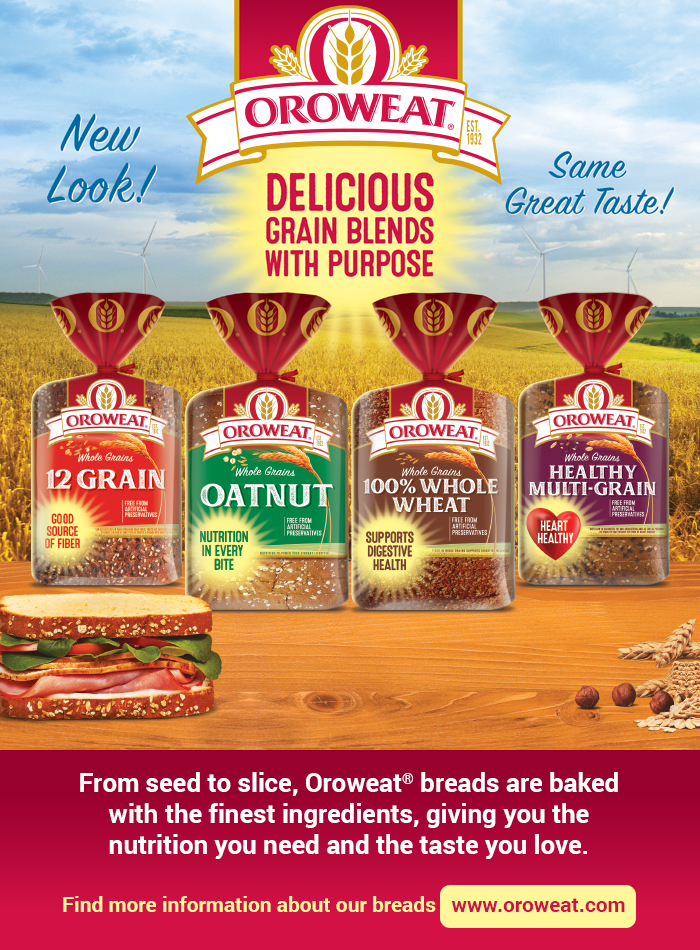 Oroweat®| New Look - Same Great Taste! Delicious Grain Blends with Purpose. Good source of fiber - Nutrition in every bite - Supports digestive health - Heart healthy. From seed to slice, Oroweat® breads are baked with the finest ingredients, giving you the nutrition you need and the taste you love. For more information about our breads, visit https://www.oroweat.com