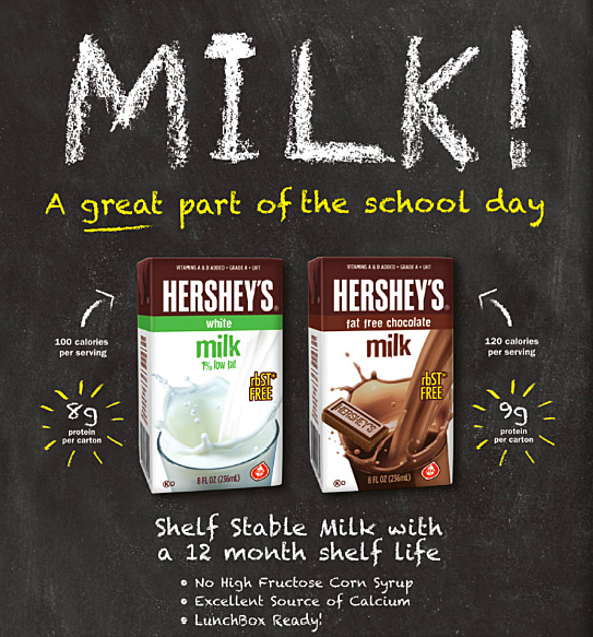 MILK! A great part of the school day. Shelf Stable Milk with a 12 Month Shelf Life: - No High Fructose Corn Syrup - Excellent Source of Calcium - LunchBox Ready!