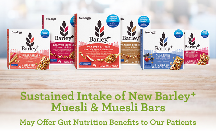 Sustained Intake of New Barley+ Muesli & Muesli Bars May Offer Gut Nutrition Benefits to Our Patients