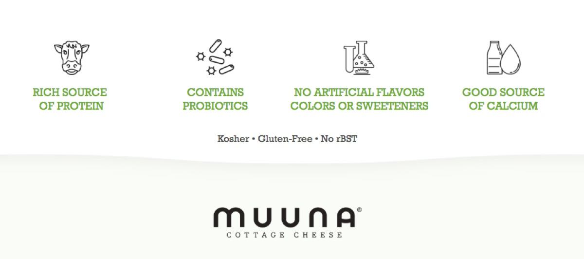 Rich Source of Protein - Contains Probiotics - No Artificial Flavors, Colors, or Sweeteners - Good Source of Calcium - Kosher - Gluten-Free - No rBST | Muuna® Cottage Cheese