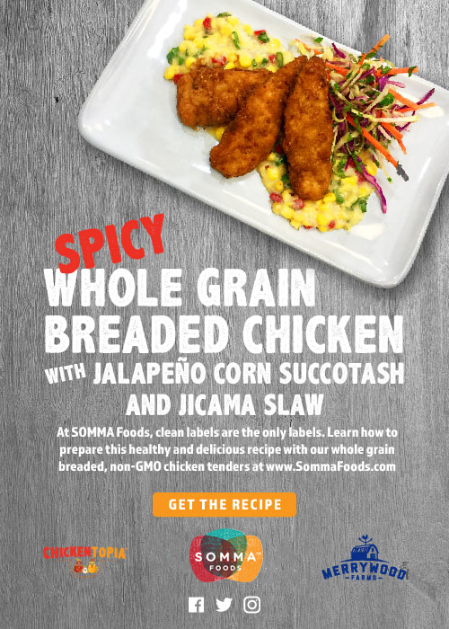 Spicy Whole Grain Breaded Chicken with Jalapeno Corn Succotash and Jicama Slaw - At SOMMA Foods, clean labels are the only labels. Learn how to prepare this healthy and delicious recipe with our whole grain breaded, non-GMO chicken tenders at www.SommaFoods.com - Get the Recipe: https://sommafoods.com/blog-post/spicy-breaded-chicken-with-jalapeno-corn-succotash-jicama-slaw/